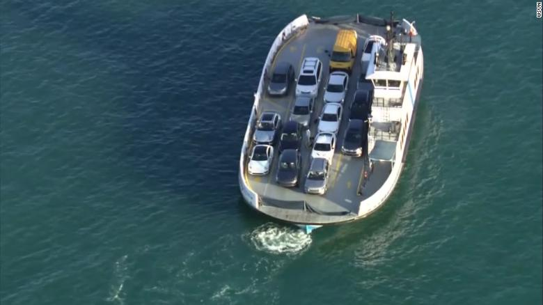 The ferry had an empty spot in Lane 1 and a damaged barrier.