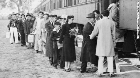 This is the first of 4500 alien and American-born Japanese to be moved from famed Santa Anita race track assembly center to the New Rohwer relocation camp in Deska County, Arkansas.