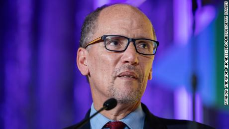 Tom Perez, chairman of the Democratic National Committee (DNC), speaks during the DNC Women's Leadership Forum conference in Washington, October 2019.