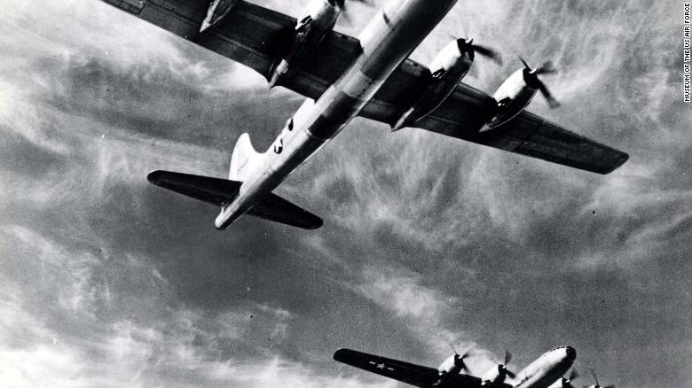 US B-29 bombers in flight.