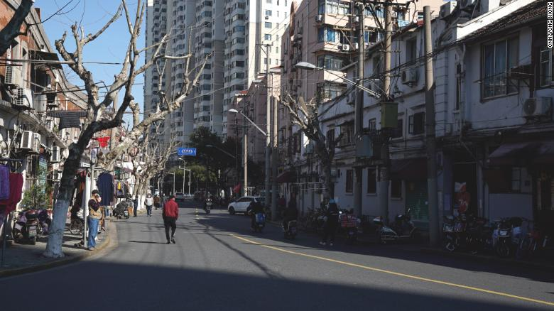 Empty streets in Shanghai's Hong Kou district amid ongoing coronavirus prevention measures.