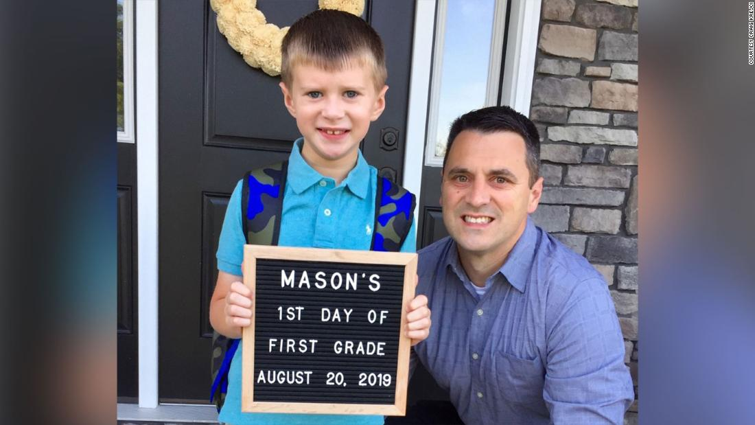 Craig and his son, Mason, celebrating Mason's first day of first grade.
