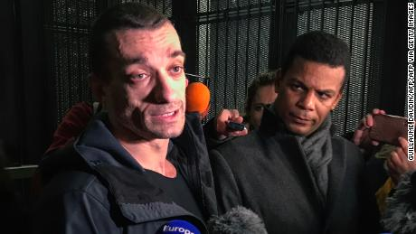 Russian artist Pyotr Pavlensky speaks to the press as he leaves the Paris courthouse on February 18, 2020.
