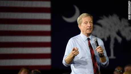 Democratic presidential hopeful Tom Steyer speaks at a campaign town hall event, Monday, February 10, 2020, in Rock Hill, South Carolina.
