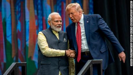 HOUSTON, TX - SEPTEMBER 22: Indian Prime Minster Narendra Modi and U.S. President Donald Trump leave the stage at NRG Stadium after a rally on September 22, 2019 in Houston, Texas. The rally was expected to draw tens of thousands of Indian-Americans and comes ahead of Modi's trip to New York for the United Nations General Assembly.  (Photo by Sergio Flores/Getty Images)