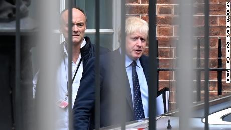 Boris Johnson (R) and Dominic Cummings at Downing Street in September.