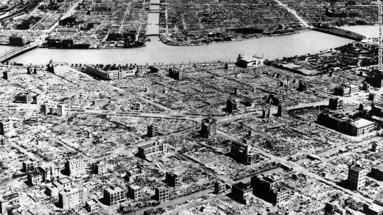An aerial view of Tokyo after it was razed by American fire bombing carried out on March 10, 1945.