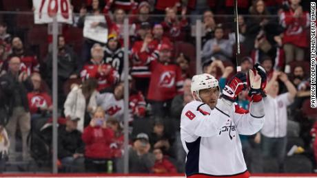 Alex Ovechkin of the Washington Capitals celebrates after scoring his 700th career NHL goal in the third period against the New Jersey Devils at Prudential Center on February 22.