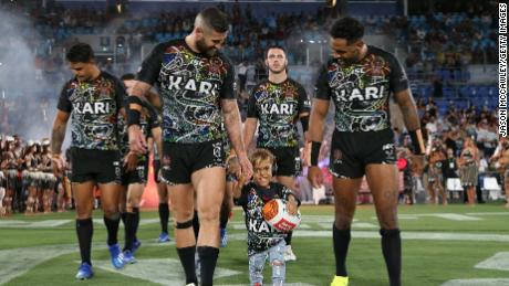 Bullied Australian boy Quaden Bayles leads out rugby league team in front of thousands