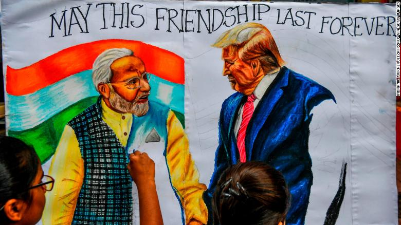 Trump lands in India and feels the love