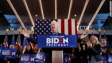 Democratic presidential candidate former Vice President Joe Biden speaks during a caucus night event Saturday, Feb. 22, 2020, in Las Vegas.