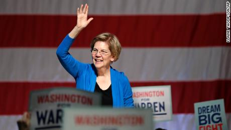 Democratic presidential candidate U.S. Sen. Elizabeth Warren, D-Mass., waves as she is introduced during a campaign event Saturday, Feb. 22, 2020, in Seattle. (AP Photo/Elaine Thompson)