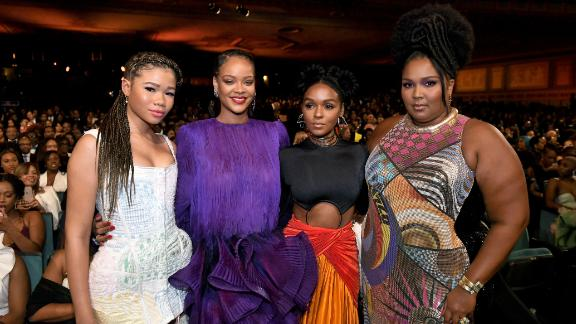 PASADENA, CALIFORNIA - FEBRUARY 22: (L-R) Storm Reid, Rihanna, Janelle Monáe, and Lizzo attend the 51st NAACP Image Awards, Presented by BET, at Pasadena Civic Auditorium on February 22, 2020 in Pasadena, California. (Photo by Paras Griffin/Getty Images for BET)