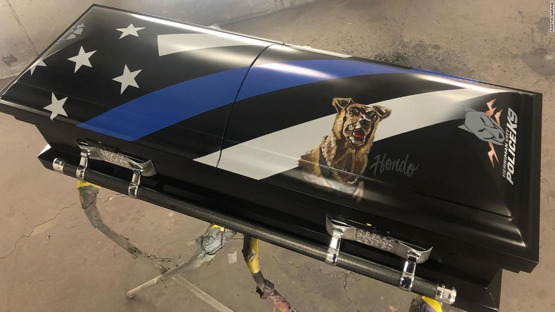A police dog killed in the line of duty will be buried in a special casket bearing his portrait