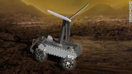 This illustration shows a design for a possible wind-powered Venus rover.