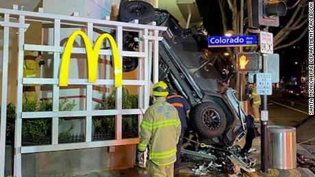 A 20-year-old man drove a Jeep off a six-level parking garage in Santa Monica, California, on Sunday, February 23.