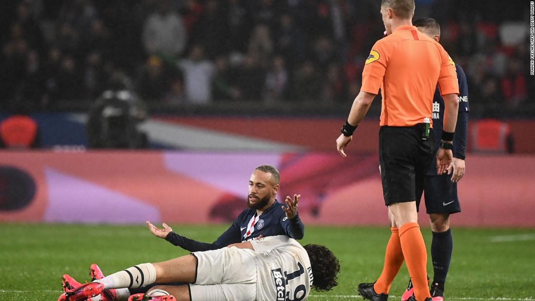 Neymar received his second yellow card for a clumsy challenge on Yacine Adli.