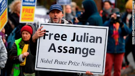 Supporters Julian Assange outside Woolwich Crown Court on Monday.