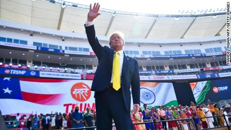 US President Donald Trump waves after attending the Namaste Trump  rally at Sardar Patel Stadium, in Motera, on the outskirts of Ahmedabad, on February 24, 2020.