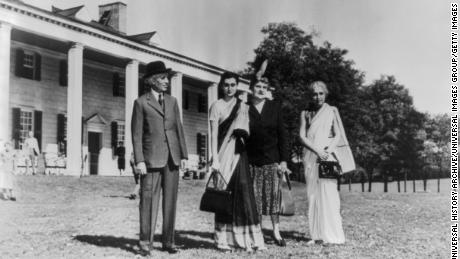Jawaharlal Nehru Prime Minister of India with his daughter, Indira Gandhi, and his sister at Mount Vernon, 1949.