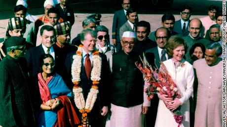 In January 1978, US President Jimmy Carter visited India. He was welcomed by Prime Minister Moraji Desai.