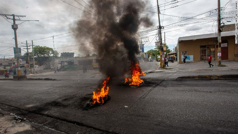 Main roads through the city of Port au Prince are blocked after Sunday's clash between Haitian police and the army in Port au Prince, Haiti February 24, 2020.