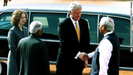 President Bill Clinton and his daughter, Chelsea, are greeted by Prime Minister Atal Bihari Vajpayee, right, and Indian President K.R. Naraynan, left, in New Delhi, India, March 21, 2000.