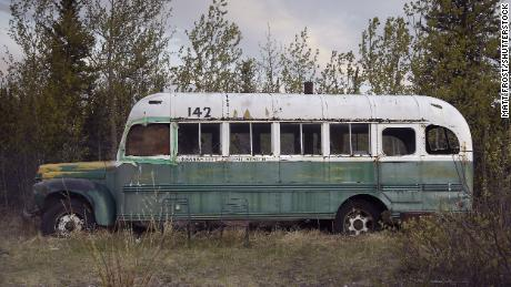 "This abandoned bus on the Stampede Trail in Alaska became the camp of Chris McCandless in 1992. The story of his life and death at this spot became the subject of the book ""into the Wild,"" later turned into a movie."
