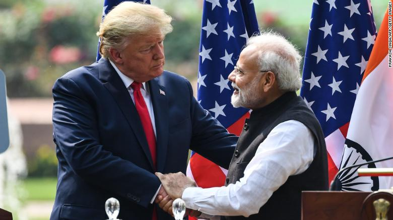 US President Donald Trump shakes hands with India's Prime Minister Narendra Modi during a press conference in New Delhi.