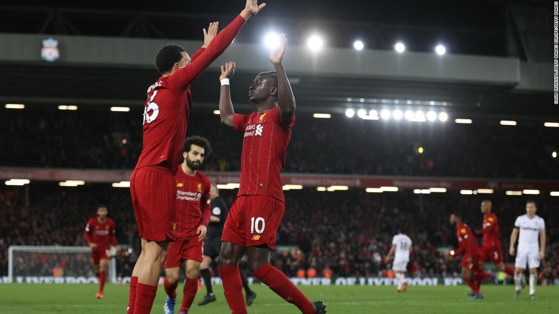 Sadio Mane celebrates after scoring his sides third goal.
