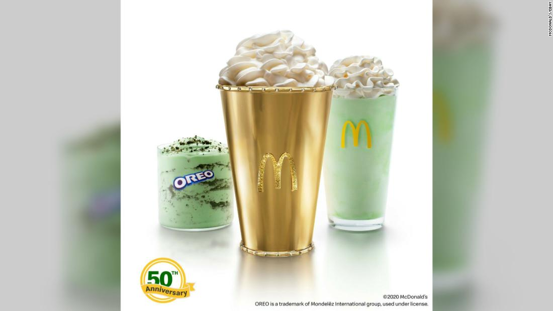 McDonald's is auctioning off a 'Golden Shamrock Shake' cup said to be worth $90,000