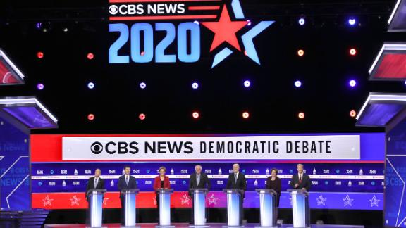 CHARLESTON, SOUTH CAROLINA - FEBRUARY 25: Democratic presidential candidates (L-R) former New York City Mayor Mike Bloomberg, former South Bend, Indiana Mayor Pete Buttigieg, Sen. Elizabeth Warren (D-MA), Sen. Bernie Sanders (I-VT), former Vice President Joe Biden, Sen. Amy Klobuchar (D-MN), and Tom Steyer participate in the Democratic presidential primary debate at the Charleston Gaillard Center on February 25, 2020 in Charleston, South Carolina. Seven candidates qualified for the debate, hosted by CBS News and Congressional Black Caucus Institute, ahead of South Carolina
