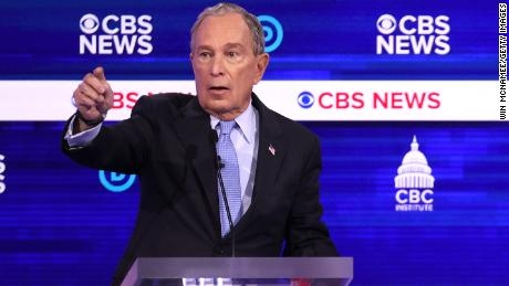 Democratic presidential candidate former New York City Mayor Mike Bloomberg speaks during the Democratic presidential primary debate at the Charleston Gaillard Center on February 25, 2020 in Charleston, South Carolina.