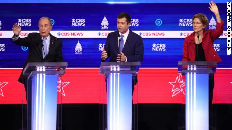 Democratic presidential candidate former South Bend, Indiana Mayor Pete Buttigieg speaks as former New York City Mayor Mike Bloomberg (L)  and Sen. Elizabeth Warren (D-MA) (R) looks on during the Democratic presidential primary debate at the Charleston Gaillard Center on February 25, 2020 in Charleston, South Carolina.