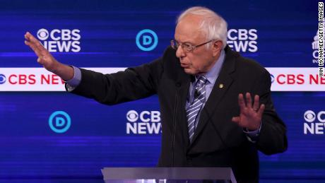 CHARLESTON, SOUTH CAROLINA - FEBRUARY 25: Democratic presidential candidate Sen. Bernie Sanders (I-VT) speaks during the Democratic presidential primary debate at the Charleston Gaillard Center on February 25, 2020 in Charleston, South Carolina. Seven candidates qualified for the debate, hosted by CBS News and Congressional Black Caucus Institute, ahead of South Carolina's primary in four days.  (Photo by Win McNamee/Getty Images)