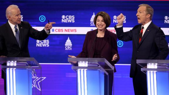 CHARLESTON, SOUTH CAROLINA - FEBRUARY 25: Democratic presidential candidates former Vice President Joe Biden (L) and Tom Steyer (R) debate as Sen. Amy Klobuchar (D-MN) reacts during the Democratic presidential primary debate at the Charleston Gaillard Center on February 25, 2020 in Charleston, South Carolina. Seven candidates qualified for the debate, hosted by CBS News and Congressional Black Caucus Institute, ahead of South Carolina's primary in four days.  (Photo by Win McNamee/Getty Images)