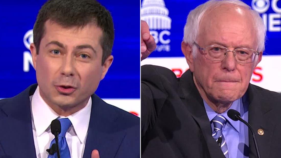 Hasil gambar untuk Democratic candidates try to put Bernie Sanders in the hot seat in last debate before crucial primaries