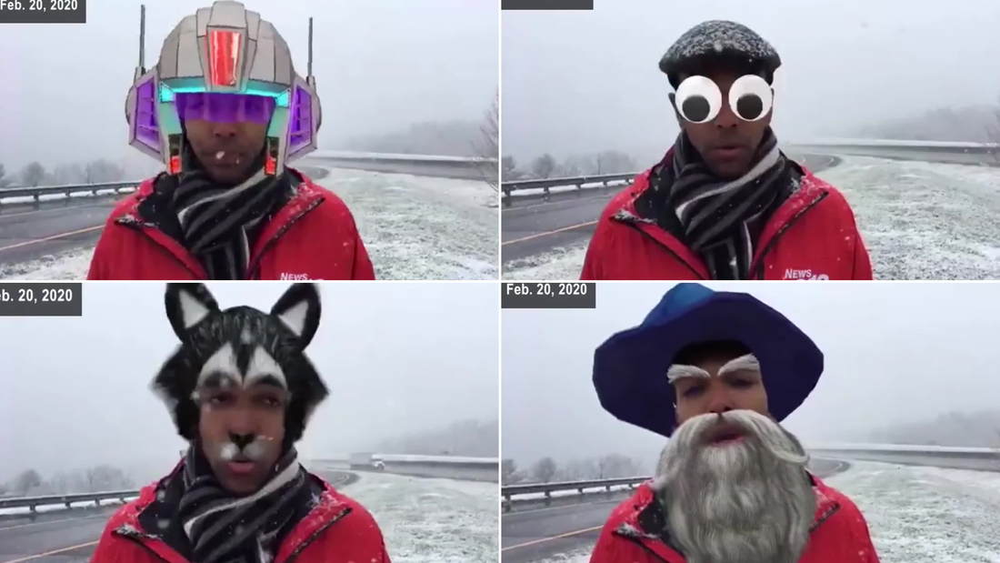 Image for A TV reporter unknowingly gave the snow report with googly eyes after he accidentally turned on Facebook's face filters