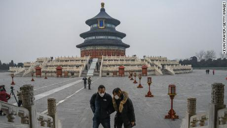 The Temple of Heaven, a popular tourist destination in Beijing, is a ghost town.