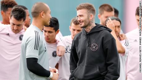 Beckham speaks with goalkeeper Luis Robles, who has been named Inter Miami club captain.