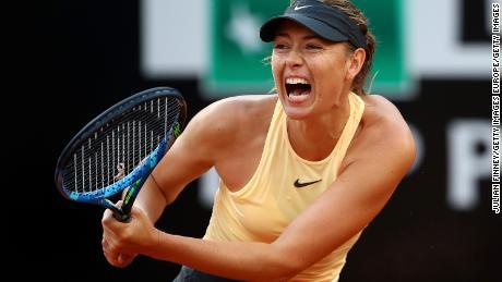 ROME, ITALY - MAY 16:  Maria Sharapova of Russia in action against Dominika Cibulkova of Slovakia during day four of the Internazionali BNL d'Italia 2018 tennis at Foro Italico on May 16, 2018 in Rome, Italy.