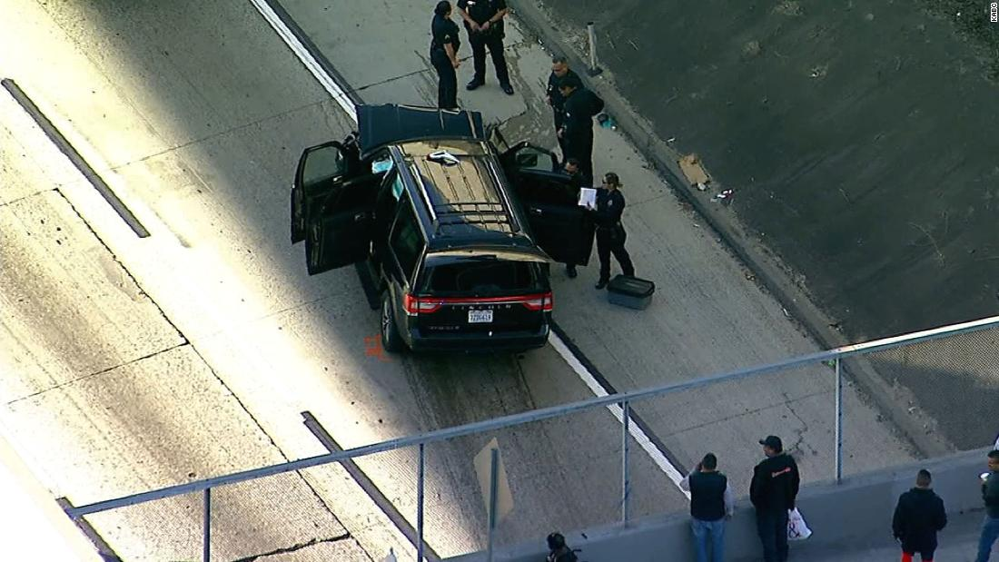 A hearse stolen with a body still inside was recovered after a pursuit with Los Angeles police