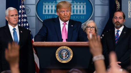 President Donald Trump, with members of the president's coronavirus task force, speaks during a news conference in the Brady Press Briefing Room of the White House, Wednesday, Feb. 26, 2020, in Washington. (AP Photo/Evan Vucci)