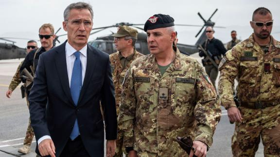 """HERAT, AFGHANISTAN - NOVEMBER 7: NATO Secretary General Jens Stoltenberg visits the Italian-run military base """"Camp Arena"""" to meet the soldiers in the context of the Nato Resolute Support (RS) mission, on November 7, 2018 in Herat, Afghanistan. Today NATO Secretary General Jens Stoltenberg during his visit said that """"The Taliban can say whatever they want, NATO and the Americans will stay in Afghanistan as long as necessary"""". (Photo by Antonio Masiello/Getty Images)"""