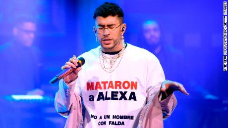 "Bad Bunny wore a shirt to draw attention to Luciano's killing during his appearance on ""The Tonight Show Starring Jimmy Fallon."""