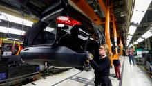 General Motors Chevrolet Traverse and Buick Enclave vehicles go through the assembly line at the General Motors Lansing Delta Township Assembly Plant on February 21, 2020 in Lansing, Michigan.
