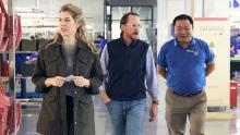 Lindsey Fahy, Rothy's brand marketing director [left], CEO Roth Martin, [center], Oscar Mao, Rothy's general manager [right] at the company's factory in China.
