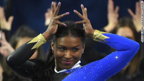 Nia Dennis performs the floor exercise during UCLA Gymnastics Meet the Bruins intra squad event at Pauley Pavilion on December 14, 2019, in Los Angeles, California.