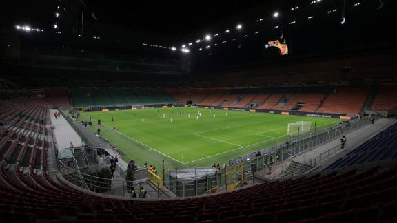 """Inter Milan plays Ludogorets in an empty soccer stadium in Milan, Italy, on February 27. The match <a href=""""https://edition.cnn.com/2020/02/28/football/inter-milan-coronavirus-ludogorets-football-spt-intl/index.html"""" target=""""_blank"""">was ordered to be played behind closed doors</a> as Italian authorities continue to grapple with the coronavirus outbreak."""