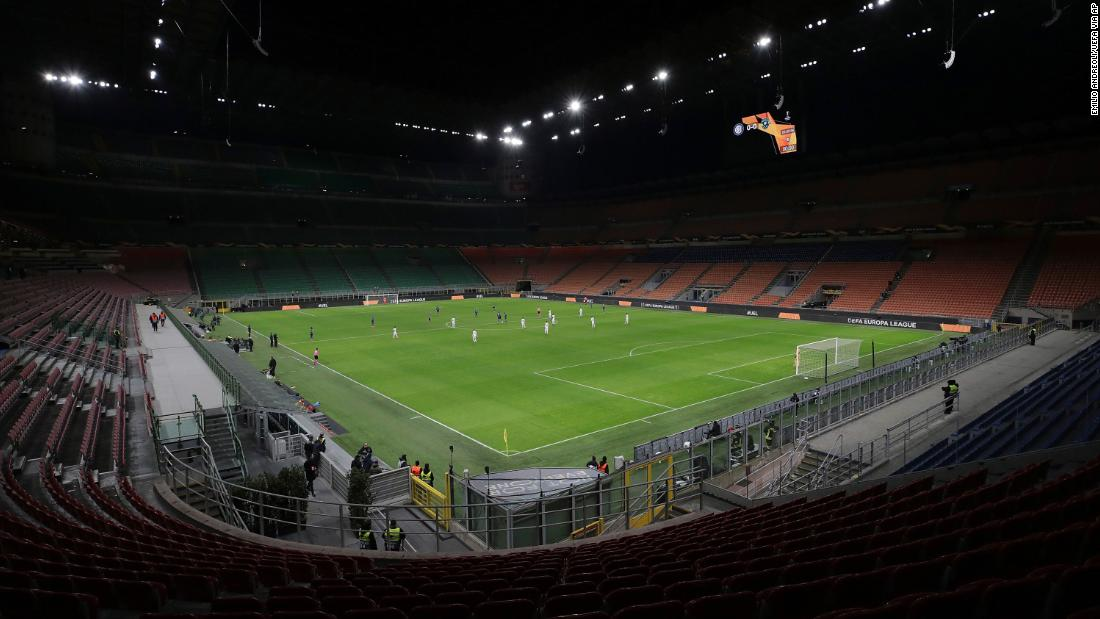 "Inter Milan plays Ludogorets in an empty soccer stadium in Milan, Italy, on February 27. The match <a href=""https://edition.cnn.com/2020/02/28/football/inter-milan-coronavirus-ludogorets-football-spt-intl/index.html"" target=""_blank"">was ordered to be played behind closed doors</a> as Italian authorities continue to grapple with the coronavirus outbreak."